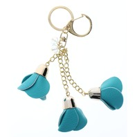 Blue Dangle Drop Rose Bud Flower Gold Tone Key Chain Fob Purse Charm