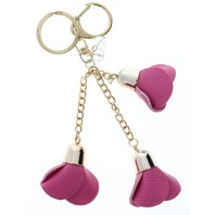 Pink Dangle Drop Rose Bud Flower Gold Tone Key Chain Fob Purse Charm