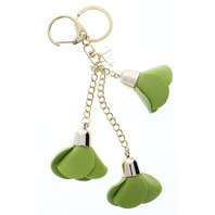 Lime Dangle Drop Rose Bud Flower Gold Tone Key Chain Fob Purse Charm