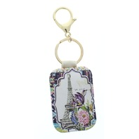 Paris Eiffel Tower Garden Framed Collage with Gold Tone Accents Key Chain Fob Phone