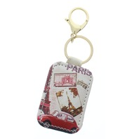 Paris Eiffel Tower Volkswagon Collage with Gold Tone Accents Key Chain Fob Phone