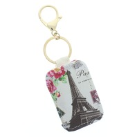 Paris Eiffel Tower Padded with Gold Tone Accents Key Chain Fob Phone
