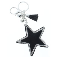 Rhinestone Bling Black Star Pillow Puff Faux Fur Accents Key Chain Fob Phone