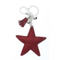 Rhinestone Bling Red Star Pillow Puff Faux Fur Accents Key Chain Fob Phone