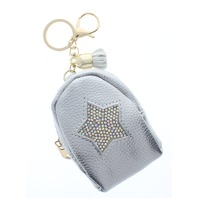 Rhinestone Bling Silver Star Backpack Coin Purse Key Chain Fob Purse Charm