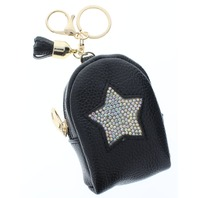 Rhinestone Bling Black Star Backpack Coin Purse Key Chain Fob Purse Charm