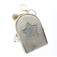 Rhinestone Bling Gold Star Backpack Coin Purse Key Chain Fob Purse Charm
