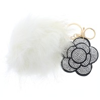 Floral Flower with Fur Pom Pom Rhinestone bling Key Chain Fob Phone Purse Charm