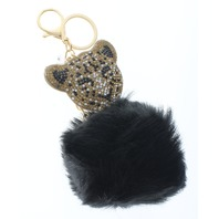 Rhinestone Bling Leopard Pillow Puff Faux Fur Key Chain Fob Purse Charm