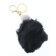 Disco Ball with Black Faux Fur Pom Pom Rhinestone bling Key Chain Fob Phone Purse Charm
