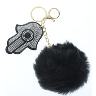 Rhinestone Bling Hamsa Pillow Puff Faux Fur Key Chain Fob Phone