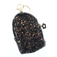 Black Glitter Stardust Backpack Coin Purse Key Chain Fob Purse Charm