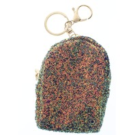 Blue Glitter Backpack Coin Purse Key Chain Fob Purse Charm
