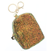 Green Glitter Backpack Coin Purse Key Chain Fob Purse Charm