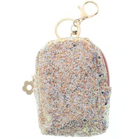 Pink Glitter Backpack Coin Purse Key Chain Fob Purse Charm