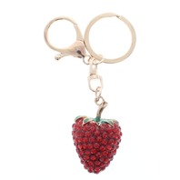 Strawberry Fruit Gold Tone Key Chain Fob Purse Charm