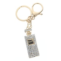 Perfume Bottle Rhinestone Bling Gold Tone Key Chain Fob Purse Charm