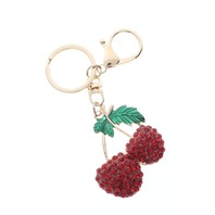 Rhinestone Bling Red Cherry with Gold Tone Key Chain Fob Purse Charm