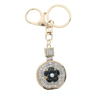 Rhinestone Bling Perfume Bottle with flower Gold Tone Key Chain Fob Purse Charm