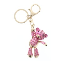 Rhinestone Bling Pink Dangling Teddy Bear Key Chain Fob Phone