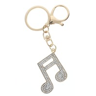Musical Note Rhinestone Bling Gold Tone Key Chain Fob Purse Charm