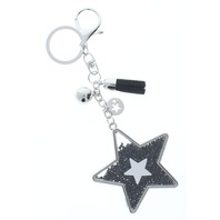 Rhinestone Bling Black Shooting Star with Silver Tone Accents Key Chain Fob Phone