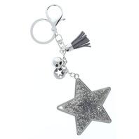 Rhinestone Bling Grey Shooting Star Silver Tone Accents Key Chain Fob Phone