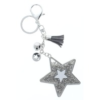 Rhinestone Bling Grey Shooting Star Silver Tone Accents Key Chain Fob Phone