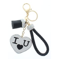 Black I Love You with Rhinestone Bling Rope Tassel with Gold Tone Accents Key Chain Fob Phone