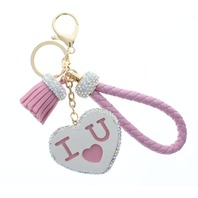 Pink I Love You with Rhinestone Bling Rope Tassel with Gold Tone Accents Key Chain Fob Phone