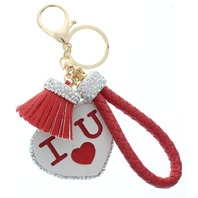 Red I Love You with Rhinestone Bling Rope Tassel with Gold Tone Accents Key Chain Fob Phone