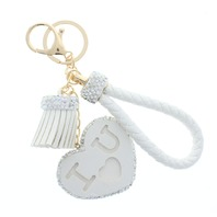 White I Love You with Rhinestone Bling Rope Tassel with Gold Tone Accents Key Chain Fob Phone