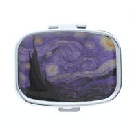 Paris France Starry Night Artist Inspired Pill Box Medicine Container Case