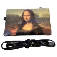 French Mona Lisa Inspired Makeup Cosmetic Bag Wristlet