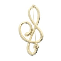 G Clef Music Musically Inspired Rhinestone Pin with Gold Tones Brooch Broach