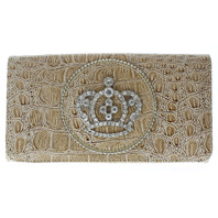 Taupe Leather Grain Rhinestone Crown Multi Card Organizer Wallet Zipper Pocket