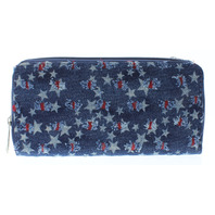 Denim Red White and Blue Stars Multi Card Organizer Wallet with Zipper Pocket