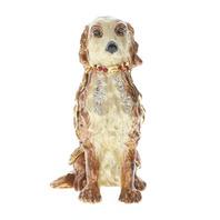 Large Golden Puppy Dog Rhinestones Collectible Hinged Trinket Box #Bhgp00169