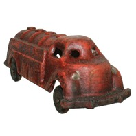 Cast Iron Metal Old TimeGolf Truck Toy Red Painted Antiqued Finish