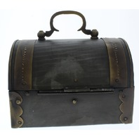 Pirates Metal Treasure Chest with Brass Accents Antique Patina Great for Display