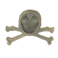 Solid Brass Paperweight Paper Weight Skull Crossbones Antique Patina
