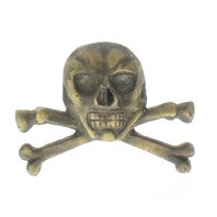 Solid Brass Paperweight Paper Weight Skull Crossbones Antique Patina