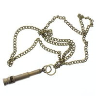 "Solid Brass Jewelers whistle Pendant and Chain 24"" Necklace"