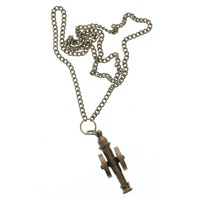 "Solid Brass Cannon Pendant and Chain 24"" Necklace"