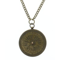 "Solid Brass World Timer and Chain 24"" Necklace"
