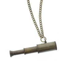 "Solid Brass Telescope and Chain 24"" Necklace"