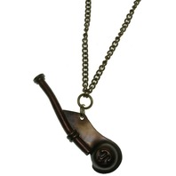 "Solid Brass Bosums Whistle Pendant and Chain 24"" Necklace"