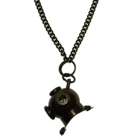 "Solid Brass Diving Helmet Pendant and Chain 24"" Necklace"