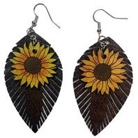 Dangle Drop Faux Leather and Sunflower Teardrops Pierced Earring