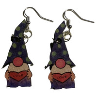 Dangle Drop Wooden Whimsical Gnomes of Love with Silver Toned hardware